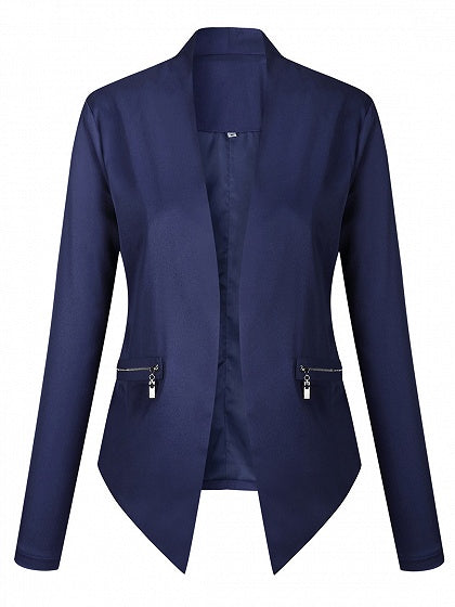 Blue Open Front Zip Detail Long Sleeve Blazer