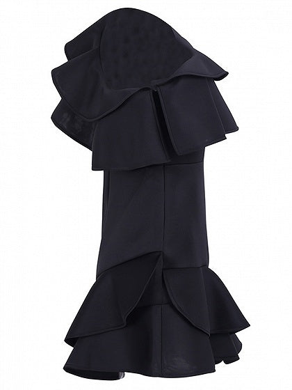 Black One Shoulder Ruffle Trim Mini Dress