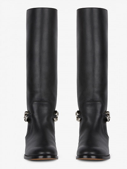 Black Leather Chain Detail Knee Boots