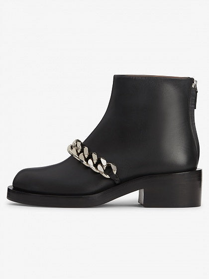 Black Leather Chain Detail Ankle Boots