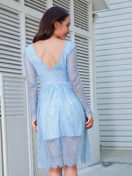 Blue V-neck Sheer Sleeve Mesh Overlay Dress