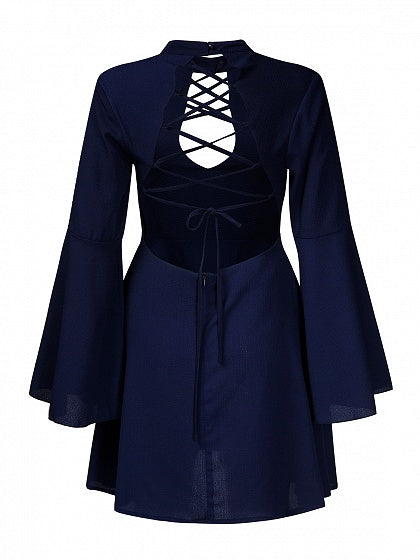 Blue Plunge Open Back Strap Cross Front Flare Sleeve Mini Dress