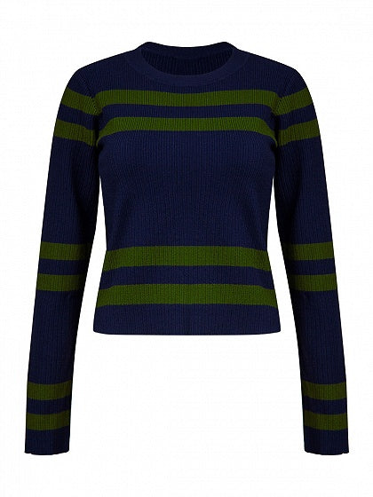 Dark Blue Stripe Long Sleeve Cropped Knit Jumper