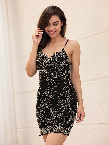 Black V-neck Embroidery Spaghetti Strap Bodycon Mini Dress