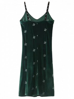 Green Velvet Plunge Stud Detail Lace Panel Cami Dress
