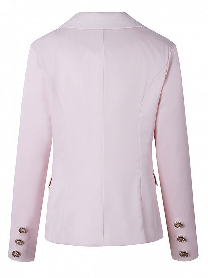 Pink Lapel Button Front Long Sleeve Blazer