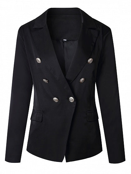 Black Lapel Button Front Long Sleeve Blazer