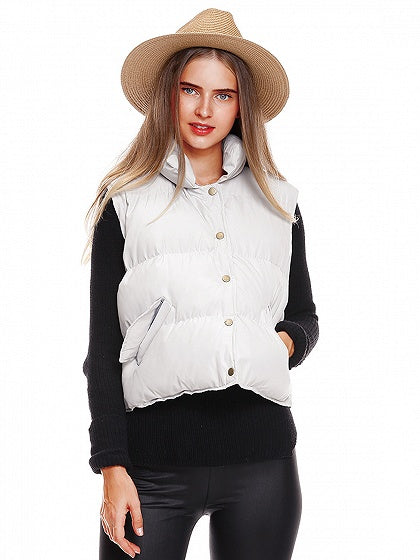 Gray Button Front Padded Waistcoat