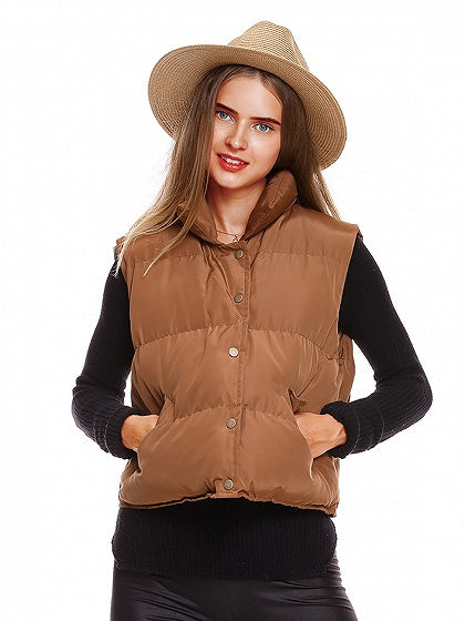 Brown Button Front Padded Waistcoat