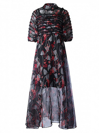 Black Stand Collar Short Sleeve Floral Print Lining Maxi Dress
