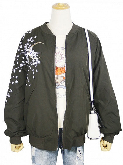Army Green Embroidery Detail Bomber Jacket