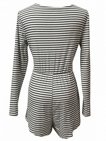 Monochrome Stripe Plunge Tie Waist Long Sleeve Ribbed Playsuit