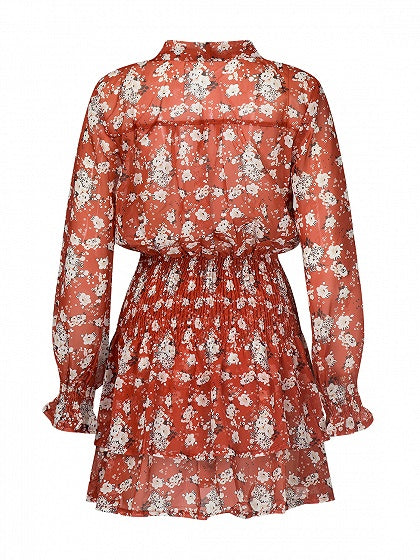 Polychrome Floral Tie Neck Long Sleeve Layered Mini Dress
