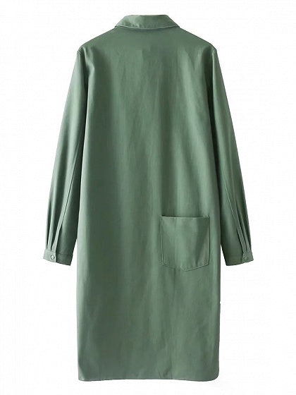 Army Green Embroidery Detail Longline Coat