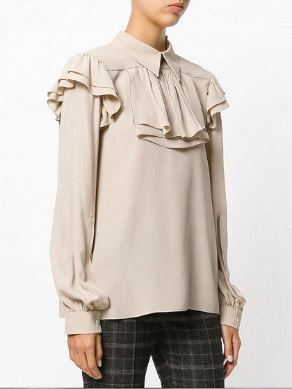 Beige Ruffle Trim Long Sleeve Blouse