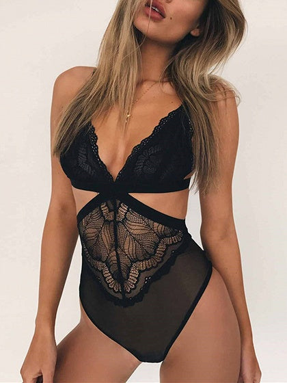 f951667b7d4d5 Black Plunge Cut Out Detail Mesh Panel Lace Bodysuit