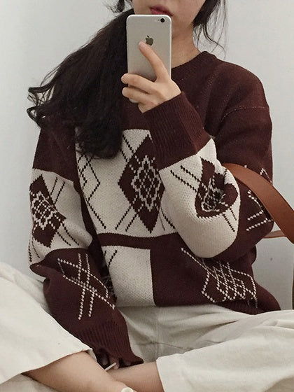 Brown Contrast Geo Pattern Knit Sweater