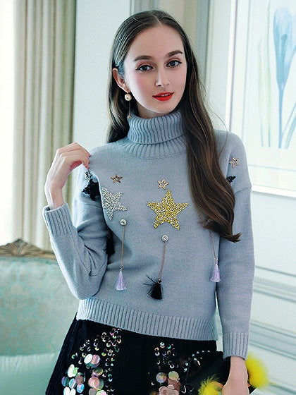 Gray High Neck Star Sequin Tassel Detail Knit Sweater