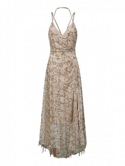 Beige V-neck Sequins Thigh Split Maxi Dress