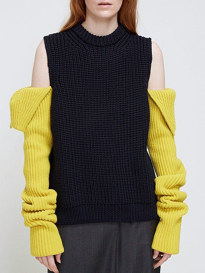 Color Block Cold Shoulder Knit Sweater