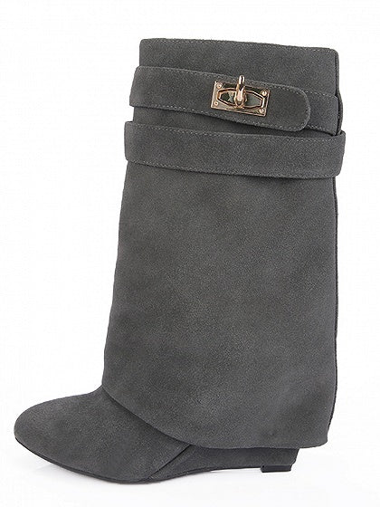 Gray Suede Wedge Boots