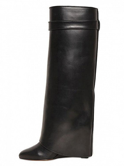 Black Leather Wedge Boots
