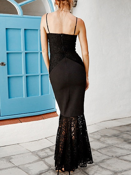Black Spaghetti Strap Lace Panel Maxi Fishtail Dress