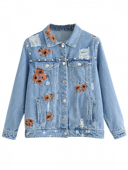 Blue Embroidery Floral Stud Detail Denim Jacket