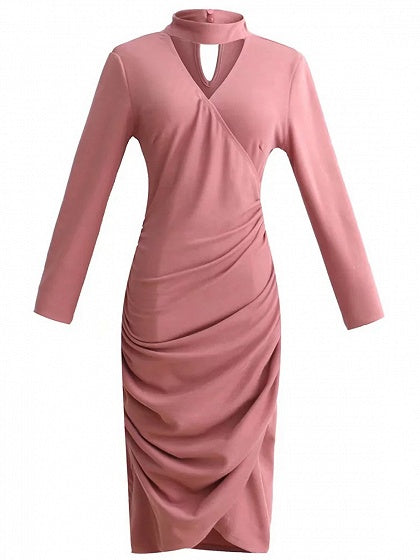 Pink Choker V-neck Ruched Detail Long Sleeve Bodycon Dress