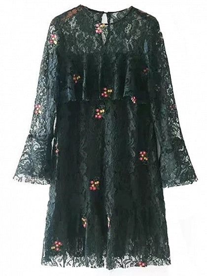 Black Embroidery Floral Long Sleeve Lace Mini Dress