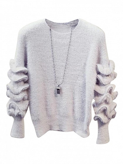 Gray Ruffle Trim Long Sleeve Mohair Knit Sweater