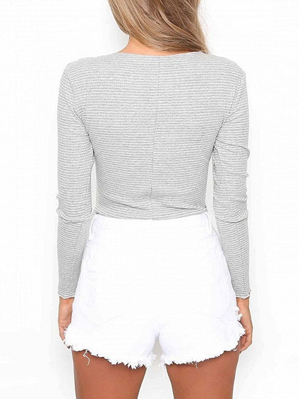 Gray Stripe Button Front Long Sleeve Bodysuit