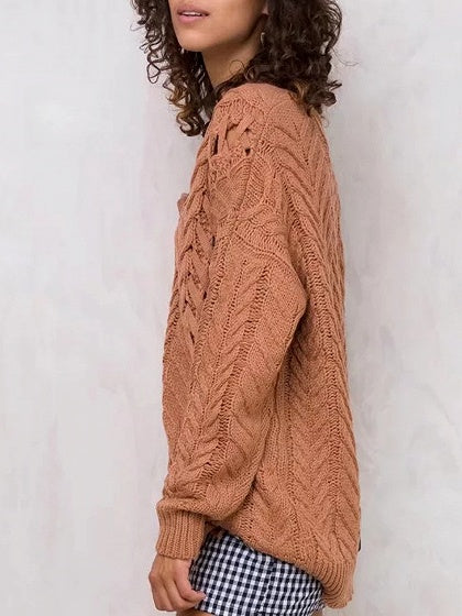 Camel  V-neck Lace Up Side Cable Knit Sweater
