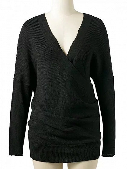 Black V-neck Wrap Front Long Sleeve Knit Sweater