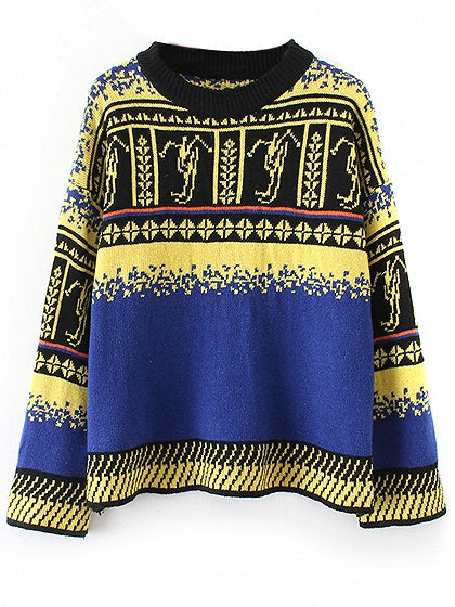 Color Block Folk Pattern Long Sleeve Knit Sweater