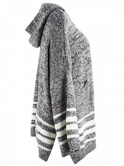 Gray Stripe Flare Sleeve Hooded Cardigan