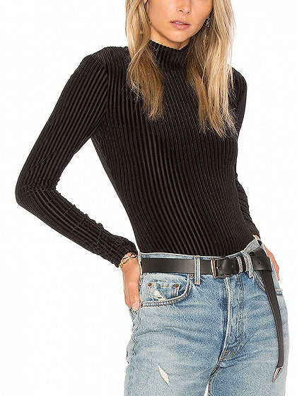 Black Velvet Stand Collar Long Sleeve Bodysuit