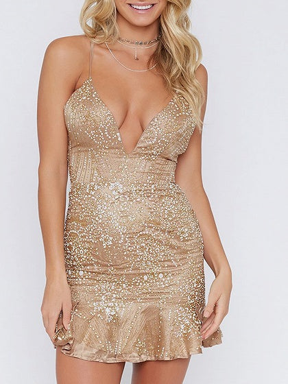 Golden V-neck Embroidery Sequin Detail Lace Up Back Mini Dress