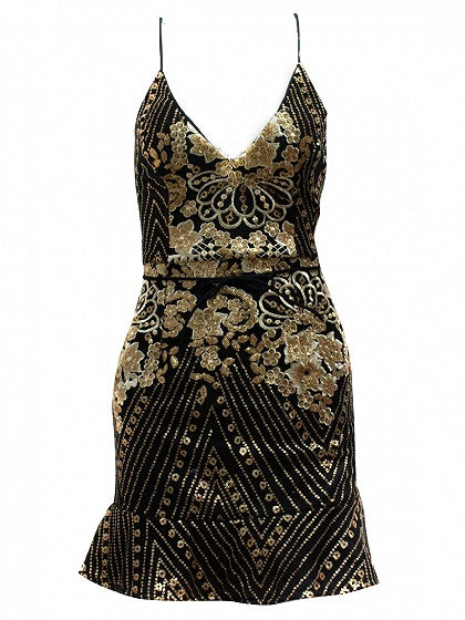 Black V-neck Embroidery Sequin Detail Lace Up Back Mini Dress