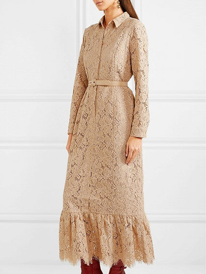 Beige Buckle Waist Flounce Hem Long Sleeve Lace Shirt Dress