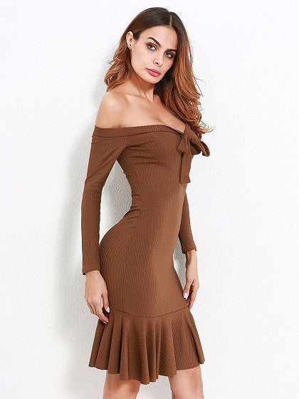Brown Off Shoulder Bow Tie Long Sleeve Ribbed Bodycon Dress