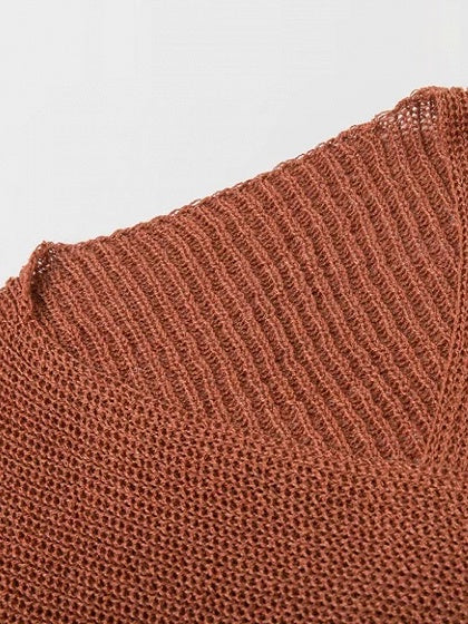 Brown Cross Wrap Front Knit Sweater