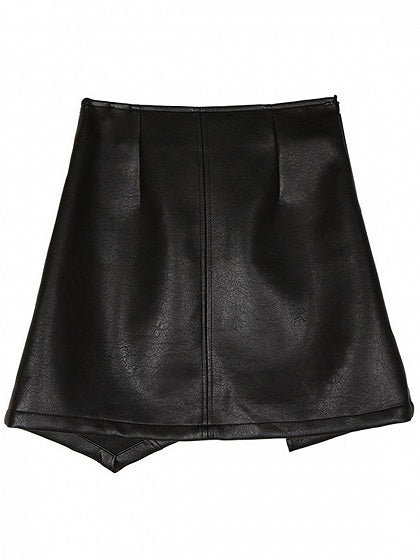 Black High Waist Zip Front Leather Look Mini Skirt