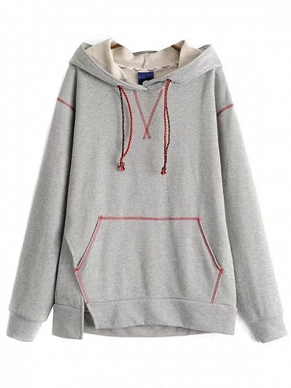 Gray Drawstring Pouch Pocket Print Back Hoodie