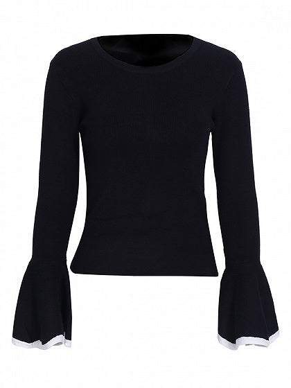 Black Flare Sleeve Knit Sweater
