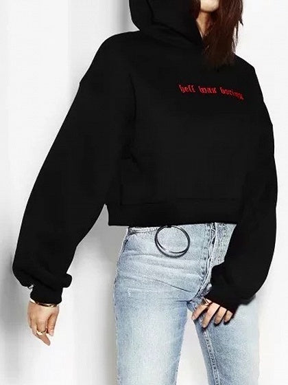 Black Embroidery Letter Fleece Hoodie