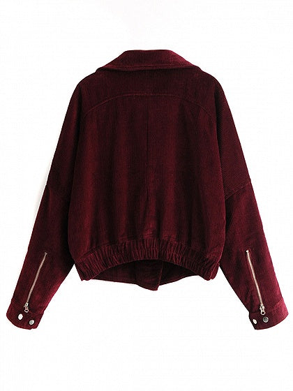Burgundy Lapel Zip Front Buckle Detail Corduroy Jacket