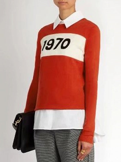 Orange Number Pattern Long Sleeve Knit Sweater