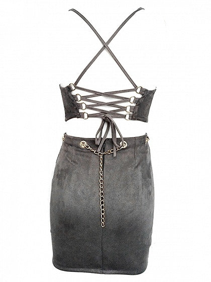 Gray Faux Suede Lace Up Back Crop Top And Pencil Mini Skirt