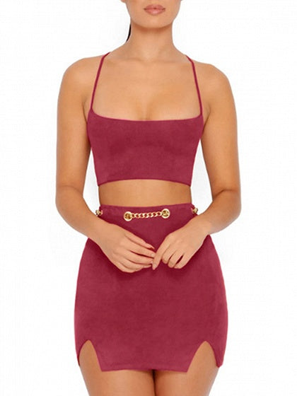 Burgundy Faux Suede Lace Up Back Crop Top And Pencil Mini Skirt